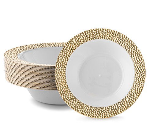 DAZZLE PLASTIC PARTY DISPOSABLE BOWLS | 14 Ounce Hard Round Wedding Soup Bowls | White with Gold Rim, 20 Pack | Elegant & Fancy Heavy Duty Party Supplies Plates for -