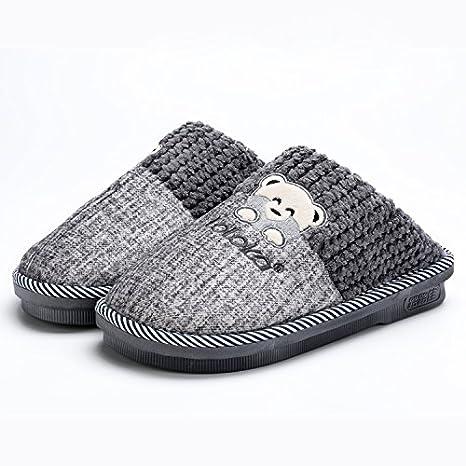 LaxBa Invierno patinar en zapatillas piel falsa nieve forrada caliente Zapatos para hombres gris42-43
