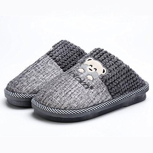 LaxBa Glisser sur l'hiver au chaud en Fausse Fourrure Chaussons Chaussures pour hommes neige bordée d44-45 gris (43-44 pieds)