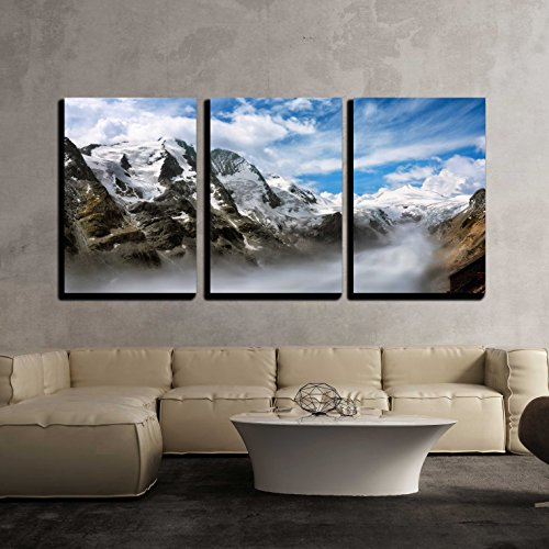 wall26 - 3 Piece Canvas Wall Art - Majestic Mountain Range in the European Alps on a Beautiful Day, with Fog in the Valley - Modern Home Decor Stretched and Framed Ready to Hang - 16