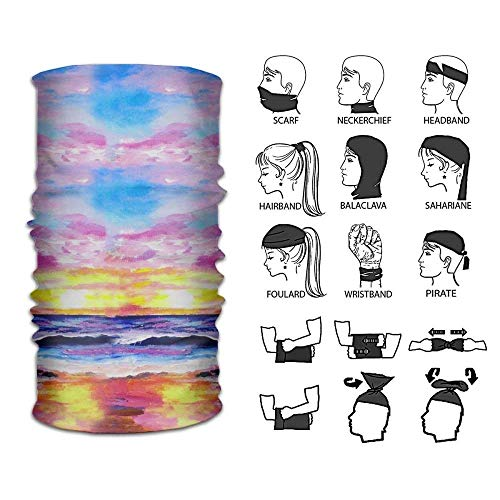 Sunset Beach Oil Painting Scarf Outdoor Multifunctional Elastic Seamless Scarf Sport Headwear,UV Resistence Performance Moisture Wicking Microfiber Running, Yoga, Hiking, Travel by Siwbko