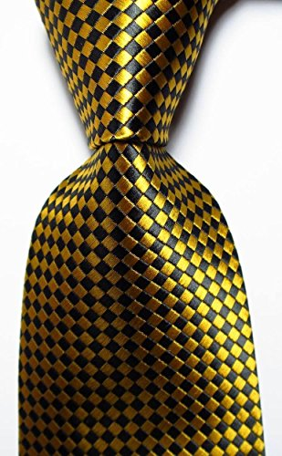 Ddang - New Classic Checks Gold Black JACQUARD WOVEN 100% Silk Men's Tie Necktie - Sunglasses Printable
