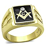 Men's Stainless Steel 14k Gold I.P. Crystal Masonic Lodge Freemason Ring Sz 8-13