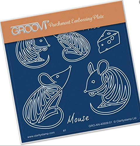 - Groovi Parchment Embossing Plate - Mouse Baby Plate Template - Laser Etched Acrylic for Parchment Craft