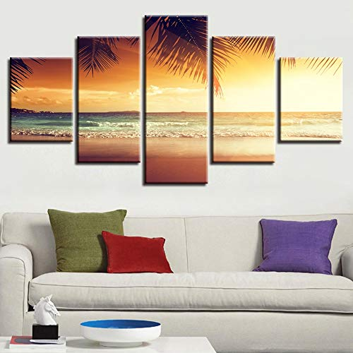 (KKJJ 5 Piece Canvas Pictures for Living Room Personalised Art Wall Decoration Paintings Beach Seascape Landscape,C,25x50cm)
