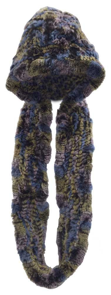 Northstar Womens Pink/Blue/Yellow Chinchilla Real Fur Hat w/Infinity Scarf H-20 by North Star