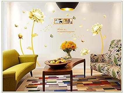 Parete Doro : Muro di tulipano in stile cinese fiore doro soggiorno camera da