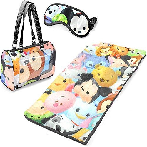 Disney Tsum Tsum Girls Sleepover Set - Sleeping Bag, Purse Tote & Eye Mask]()