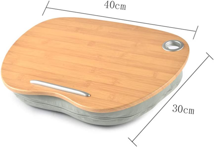 Lazy Portable Holder Pillow Cushion Tray Lap Desk Anti-Slip Strip Transmission Hole Laptop Stand Layer Bamboo Wood,B Home Office Bed Sofa