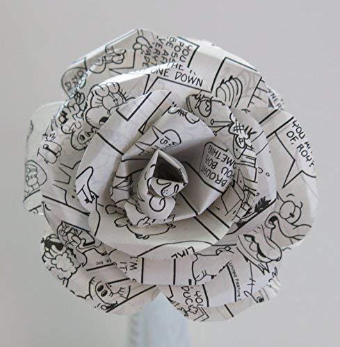 One Large Black & White Comic Book Paper Rose, 4 Inch Bloom on Stem, Comic Strip Art, Cartoon 3D Paper Sculpture, Artisan Works, Dimensional Art, Superhero Theme Birthday Party Decor (Arts Hero Blossom)