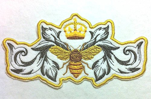 - Stunning and Unique Napoleonic Bee and Crown - Wonders of the Animal Kingdom crafted in thread - Iron on Patch Applique - 7.5
