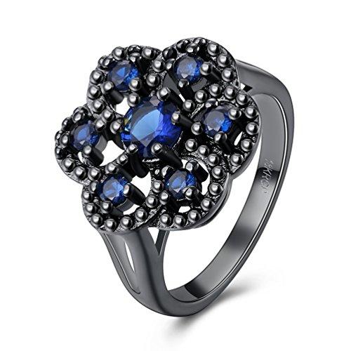 FENDINA 18k Black Gold Plated Created Blue Sapphire Cluster Flower Statement Ring for Women Size (Vintage Black Sailor Girl Nose)