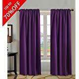 Blackout Curtains 84 Inch Long,Thermal Insulated Rod Pocket / Back Tab Window Treatment Panels / Drapes - Sold by Pair, Plum Purple