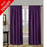 long thermal curtains - H.VERSAILTEX 100% Blackout Curtains 84 Inch Long,Thermal Insulated Rod Pocket/Back Tab Window Treatment Panels/Drapes - Sold by Pair, Plum Purple