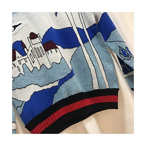Sikesong Lungo Maglioni Pista Donne Maglia s L Print Paesaggio Manicotto Design Nuova Vintage Chic 44qnPrRx