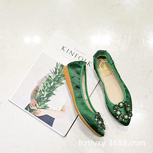 De Zapatos Verano El De Shoes Atar De Plano De De Wedding Zapato verde Satén Perforación Con Una Agua Zapato Para Plano Punta GAOLIM Luz Seda Mujer xBZ1nS