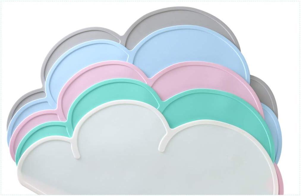 Tapis Silicone Antid/érapant Imperm/éable Nuage Forme Manyo Set de Table Enfant Silicone Rose, 1 Pc B/éb/é RepasTable Tapis Portable