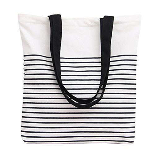 (Nuni Black Stripe Pattern Canvas Tote Bag Shoulderbag White (Black Handles))