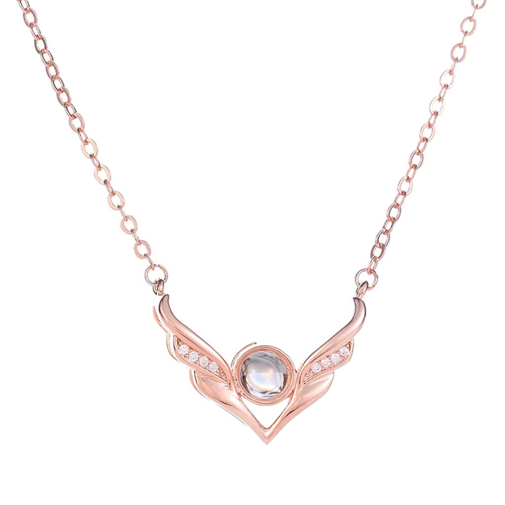 Staron Collarbone Chain Necklace New 100 Languages I Love You Valentine's Day Present Memory Projection Necklace (Rose gold)