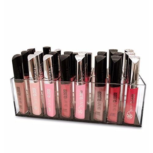 Oi LABELS TM transparent acrylique 24 fente lèvre gloss rouge à lèvres produits cosmétiques Support / Organiseur (avec haut grade 3mm acrylique)