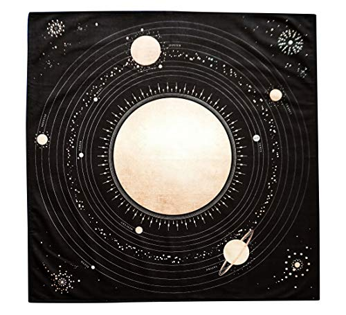 (Altar Tarot Cloth with Planets and Our Solar System (Large 24 inches x 24 inches) (Black and Gold))