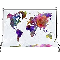 Lyly Country 5×7ft Polyester Mottled Watercolor Maps Photography Backdrops Two Fish Art Studio Background Props PB656