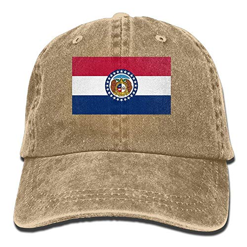 Co pello! cap Flag of Missouri Trend Printing Cowboy Hat Fashion Baseball Cap for Men and Women Asphalt