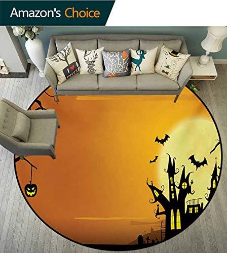 RUGSMAT Halloween Small Round Rug Carpet,Gothic Haunted House Bats Western Spooky Night Scene with Pumpkin Drawing Art Door Mat Indoors Bathroom Mats Non Slip,Diameter-31 Inch Orange Black -