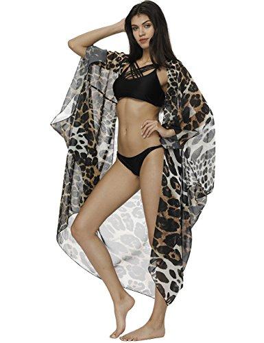 Fancyqube Women's Sheer Chiffon Flowy Kimono Cardigan Capes Long Tops Loose Summer Beachwear Cover up Leopard One Size