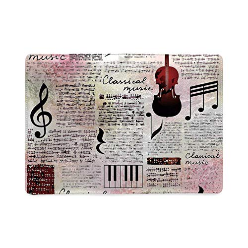Old Newspaper Decor Utility Notebooks,Classical Music Theme Instruments Piano Violin Notes Symbols Decorative for Work,5.82