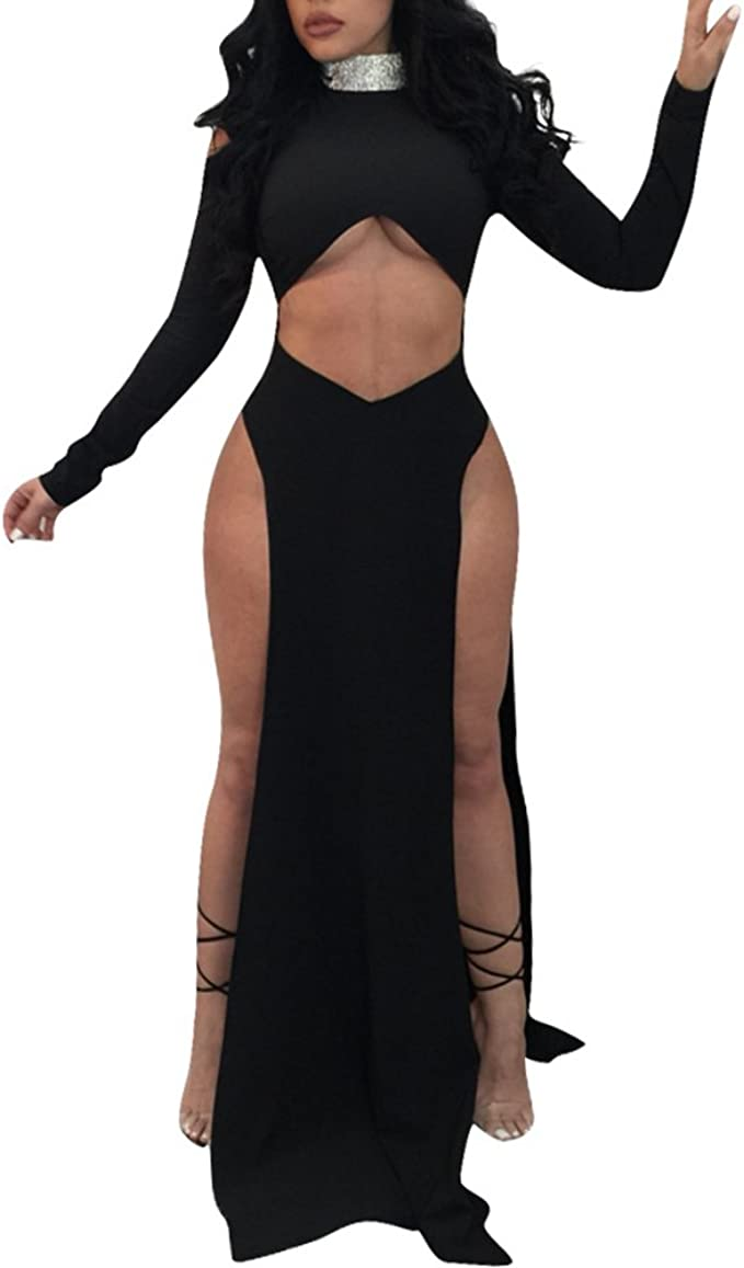 invadere effetto dipendente  Cutedi Womens Sexy Cold Shoulder Long Sleeve High Neck Sequin Cut Out Long  Party Maxi Split Dress Gown: Amazon.ca: Clothing & Accessories