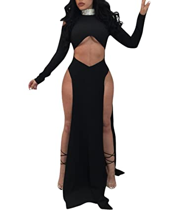 b6c8c3cb413d2 Cutedi Womens Sexy Cold Shoulder Long Sleeve High Neck Sequin Cut Out Long  Party Maxi Split Dress Gown at Amazon Women s Clothing store