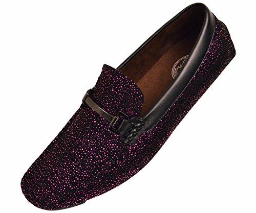 Black Speckled - Amali Mens Metallic and Black Speckled Driving Shoe, Comfort Dress Driver Loafer, Style Brogan