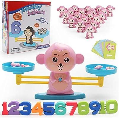 Mono Matemáticos,Early Learning Math Toys Escala Digital De Iluminación Desarrollo De Inteligencia Infantil Juegos De Mesa De Equilibrio Juguetes Para Niños Juegos De Equilibrio (Color : A): Amazon.es: Oficina y papelería