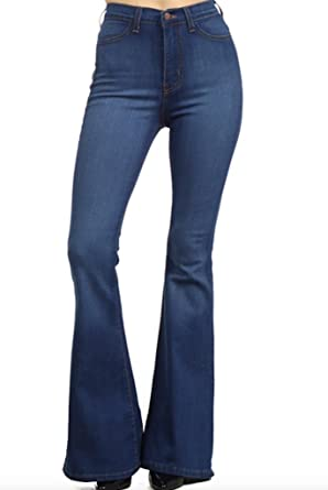 608b57c851bf0 Vibrant Womens Juniors Bell Bottom High Waist Fitted Denim Jeans (9 ...