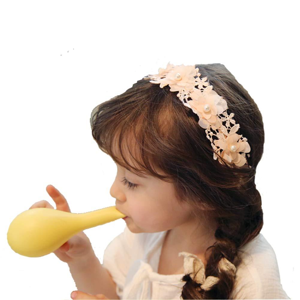 Laimew Bandeau en dentelle de mariage avec une longue robe de princesse de ruban accessoires de cheveux pour les filles (blanc)