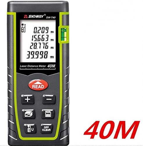 TestHelper SW-T40 7 Key 40M//131ft//1575in Laser Distance Meter Range Finder Measure Diastimeter 0.05 to 40m