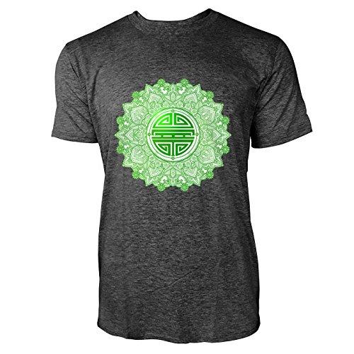 SINUS ART® Chinesisches Symbol für Gesundheit & Glück Herren T-Shirts in dunkelgrau Fun Shirt mit tollen Aufdruck