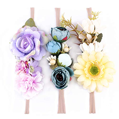 Tieback Flower Crown Elastic Flower Headband Baby Girl Floral Crown Wreath Newborn Hair Accessories (3 Colors Pack - C)