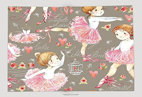 Supersoft Fleece Throw Blanket Ballerina Seamless Pattern With Cute Girl 437527315 by vanfan