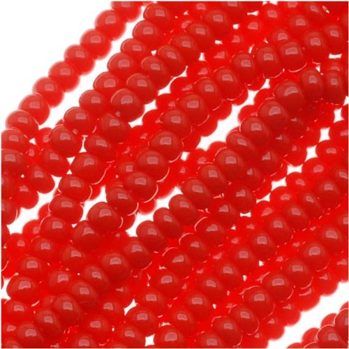 Red Seed Bead - Czech Seed Beads Size 11/0 True Red Opaque (1 Hank/4000 Beads)