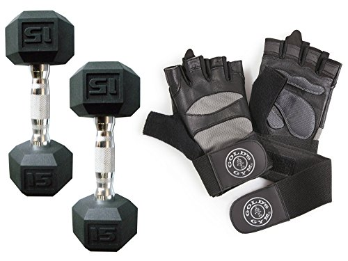 CAP Barbell Rubber-Coated 30-Pound Hex Dumbbells, Set of 2 with Gold's Gym Elite Wrist Wrap Weight Lifting Gloves (SMALL)