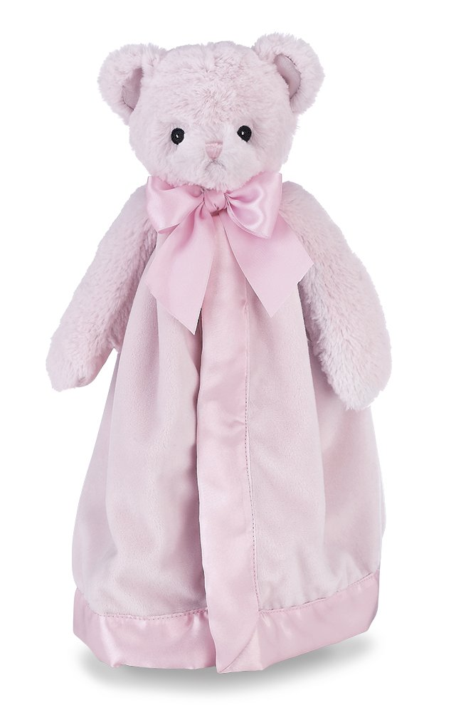 Bearington Baby Huggie Bear Snuggler, Pink Teddy Plush Stuffed Animal Security Blanket, Lovey 15''