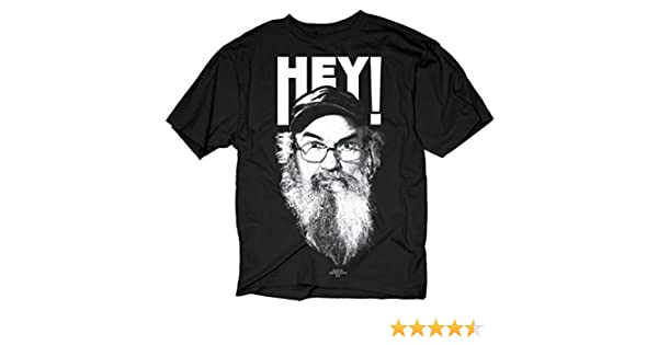 72de2fc6d8b Amazon.com  Duck Dynasty Si Robertson Commander HEY! Adult Black T-Shirt  (Adult Small)  Clothing
