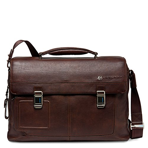 Piquadro Computer Briefcase with Two Closures, Dark Brown, One Size by Piquadro