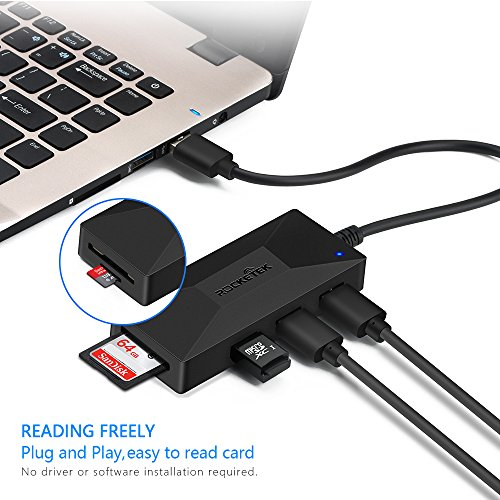 Rocketek Multi Memory Card Reader for SD/Micro SD and 3-Port USB 3.0 Portable Data Hub Adapter Combo with Extra Micro USB Power Port for laptops, Tablets and ultrabooks by Rocketek (Image #6)