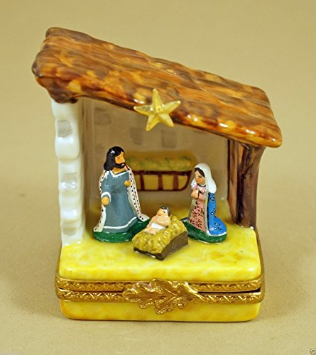 (Authentic French Porcelain Hand Painted Christmas Limoges Box Christmas Nativity Scene with Mary Baby Jesus Joseph and Star)