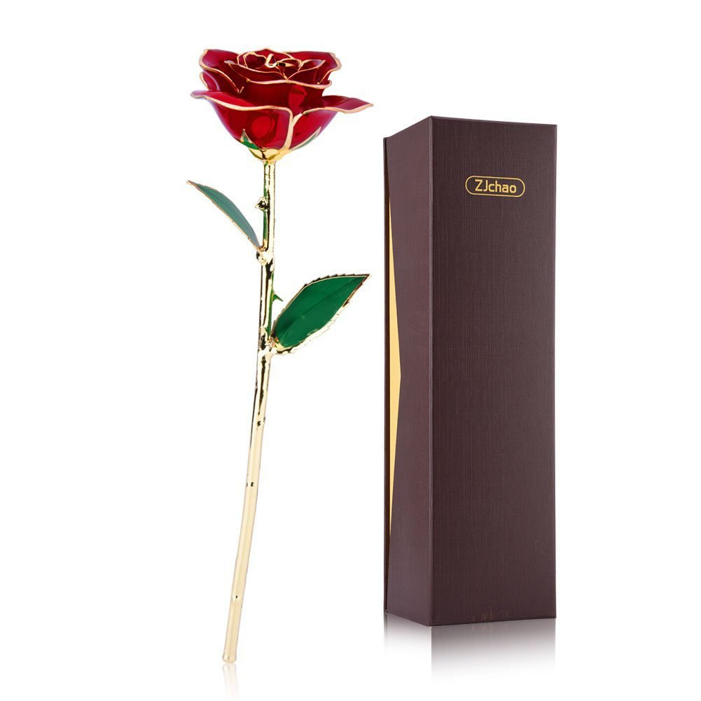 ZJchao Love Forever Long Stem 24k Gold Red Rose Flower