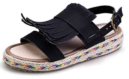 CAMSSOO Women's Retor Gladiator Ankle Strap Thongs Slingback Open Toe Rattan Side Tassels Sandals Black