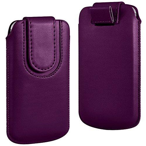 N4U Online - Apple Iphone 3G Violet foncé bouton magnétique PU cuir Pull Tab Housse Housse de protection de la peau